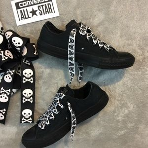 Converse with Skull Ties